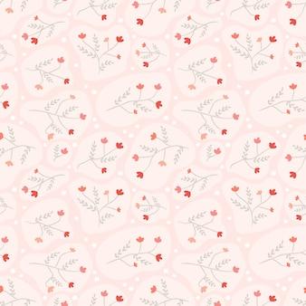 ピンクのシームレスパターンの赤い花