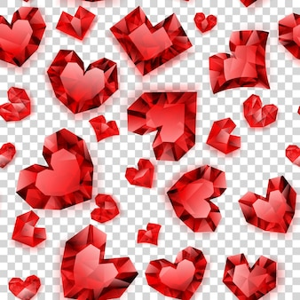 Seamless pattern of red hearts made of crystals witn shadows on transparent background