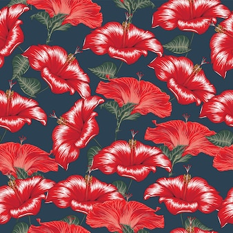 Seamless pattern red hibiscus flowers abstract background.  hand drawn.