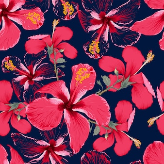 Seamless pattern red hibiscus flowers on isolated dark blue background.  hand drawing dry watercolor style.