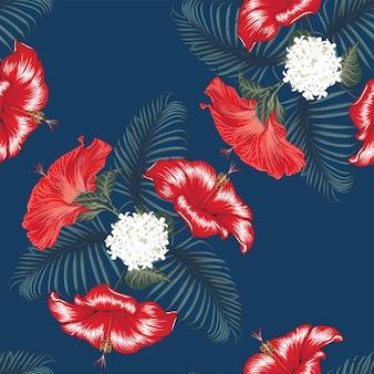 孤立した紺色の背景にシームレスなパターンの赤いハイビスカスの花。手で書いた。