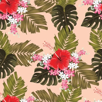 Seamless pattern red hibiscus flowers.