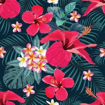 Seamless pattern red hibiscus and frangipani flowers abstract. vector illustration hand drawing.