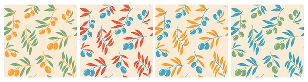 Seamless pattern of red olives