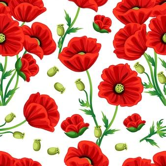シームレスパターン。緑の葉と赤いケシの花。白い背景のイラスト。 webサイトページとモバイルアプリ