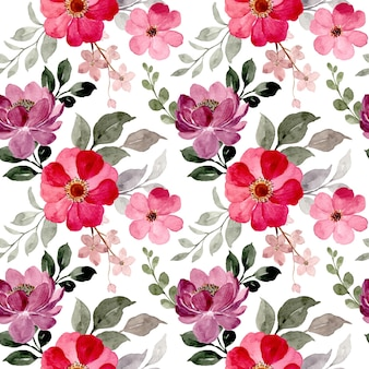 Seamless pattern of red purple floral watercolor