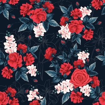 Seamless pattern red rose flowers abstract background.