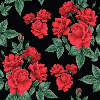 Seamless pattern red rose flowers background.