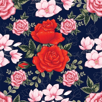 Seamless pattern red rose flowers dark blue background.