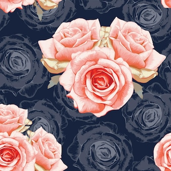 Seamless pattern red rose flowers vintage abstract dark blue background.