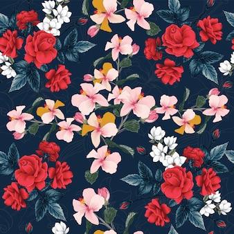 シームレスパターンの赤いバラ、ハイビスカス、マグノリア、リリーの花の背景。