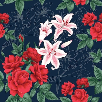 Seamless pattern red rose and lilly flowers background.