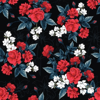 Seamless pattern red rose,magnolia and lilly flowers background.