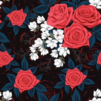 Seamless pattern red rose and white magnolia flowers