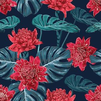 Бесшовный фон красный факел имбирь цветы и монстера лист аннотация. векторная иллюстрация сухой акварель рука рисунок stlye.