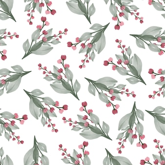 Seamless pattern of red wildflower