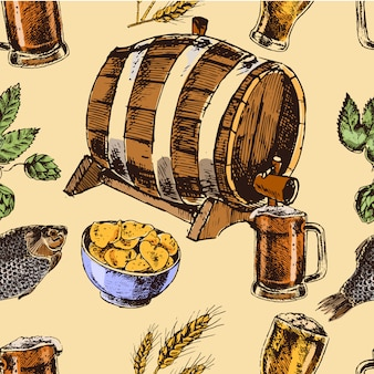 Seamless pattern of retro beer barrel and foamy mug with fish chips snacks