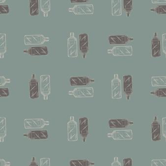 緑の背景にシームレスなパターンのレトロな中国のボトル。メニューレストランの幾何学的なテクスチャテンプレート。