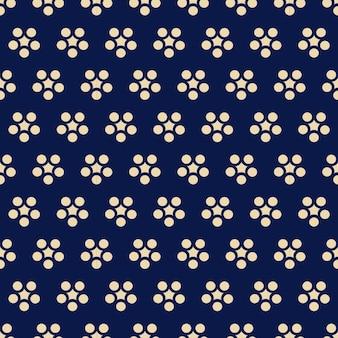 シームレスパターンレトロなネイビーブルーの日本の丸い花更紗