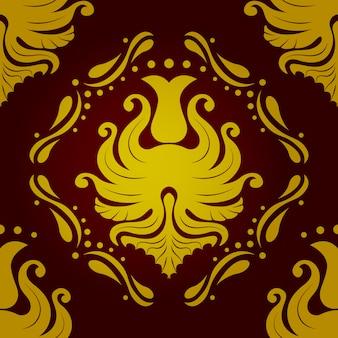 赤と金色のシームレスパターンレトロビンテージベクトルバロック壁紙。ベクター
