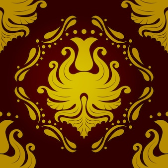 Seamless pattern retro vintage vectorial baroque wallpaper in red and golden colors. vector