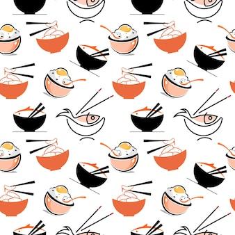원활한 패턴 밥 그릇 배경 음식 디자인