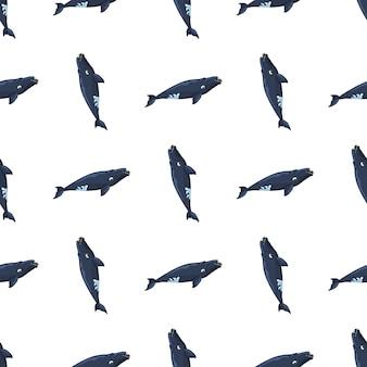 Бесшовный фон правый кит на белом фоне. шаблон мультипликационного персонажа океана для ткани. повторяющиеся геометрические вертикальные текстуры с морскими китообразными. дизайн для любых целей. векторная иллюстрация