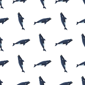 Seamless pattern right whale on white background. template of cartoon character of ocean for fabric.repeated geometric upright texture with marine cetacean.design for any purposes.vector illustration