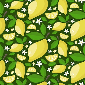 Seamless pattern of ripe juicy lemons with leaves and flowers. cartoon draw background.