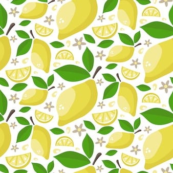 Seamless pattern of ripe juicy lemons with leaves and flowers.
