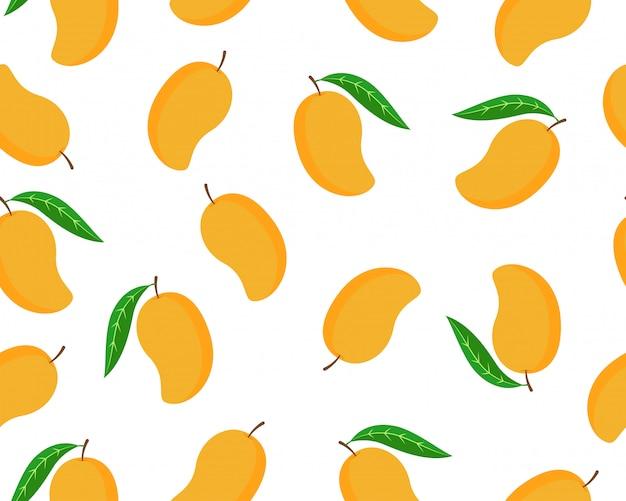 Seamless pattern of ripe mango