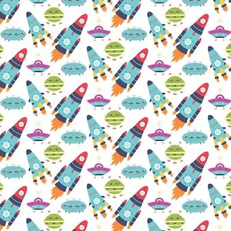 Seamless pattern rockets alien ships