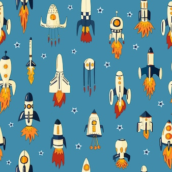Seamless pattern of rockets in space among the stars