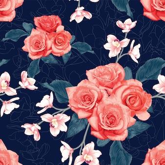 シームレスなパターンのバラと蘭の花の抽象的な背景。