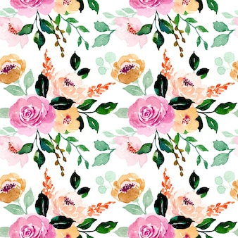 Seamless pattern of rose floral watercolor