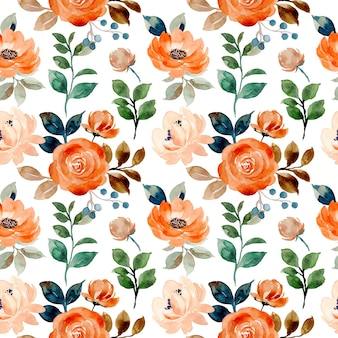 Seamless pattern of rose flower with watercolor