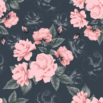 Seamless pattern rose flowers vintage abstract background.