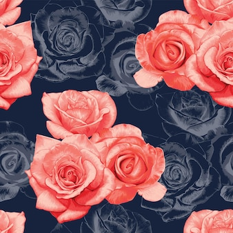 Seamless pattern rose flowers vintage abstract dark blue background.