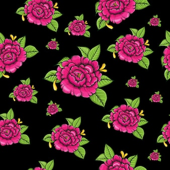 Seamless pattern rose flowers