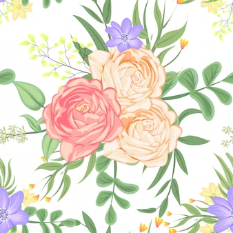 Seamless pattern rose peach vector