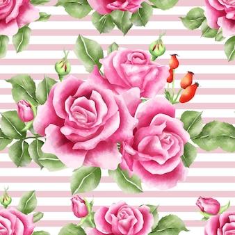 Бесшовные шаблон розовые розовые акварель