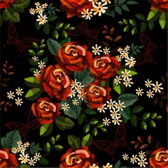 Seamless pattern roses embroidery styles and butterfly
