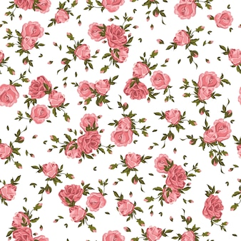 Seamless pattern roses flowers