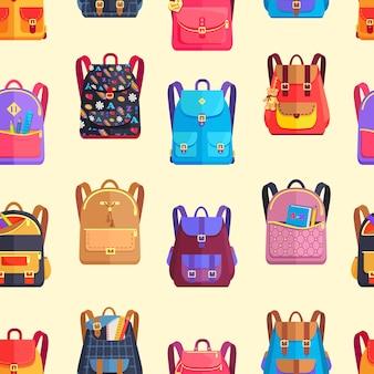 Seamless pattern rucksacks for girls or boy