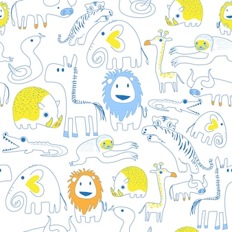 Seamless pattern of safari animals