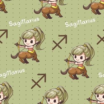 Seamless pattern sagittarius zodiac cartoon