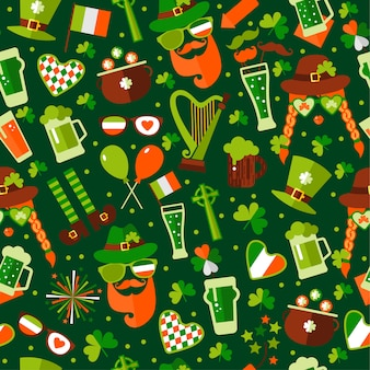 Seamless pattern for saint patricks day on green background.