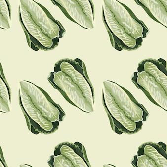 ベージュの背景にシームレスなパターンのサラダロマーノ。レタスのミニマリズム飾り。ファブリックの幾何学的な植物テンプレート。デザインベクトルイラスト。