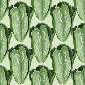 薄緑の背景にシームレスパターンサラダロマーノ。レタスのモダンな飾り。