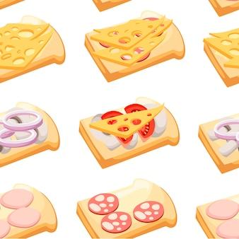 원활한 패턴입니다. 다양한 재료를 사용한 샌드위치. 고기, 야채, 치즈. 만화 플랫 스타일. 흰색 배경에 그림입니다.